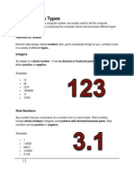 Different Data Types