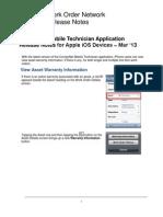 Mobile Technician App ReleaseNotes iOS Devices