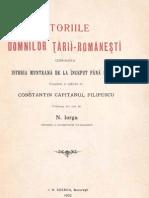 Radu Filipescu -Istoriile Domnilor Tarii Romanesti (1902)