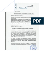UDPS Press Release 13 Mars 2013 concerning the return of  Mr. Tshisekedi to Kinshasa