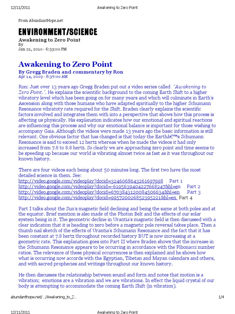 Awakening to Zero Point -By Gregg Braden Article 121111