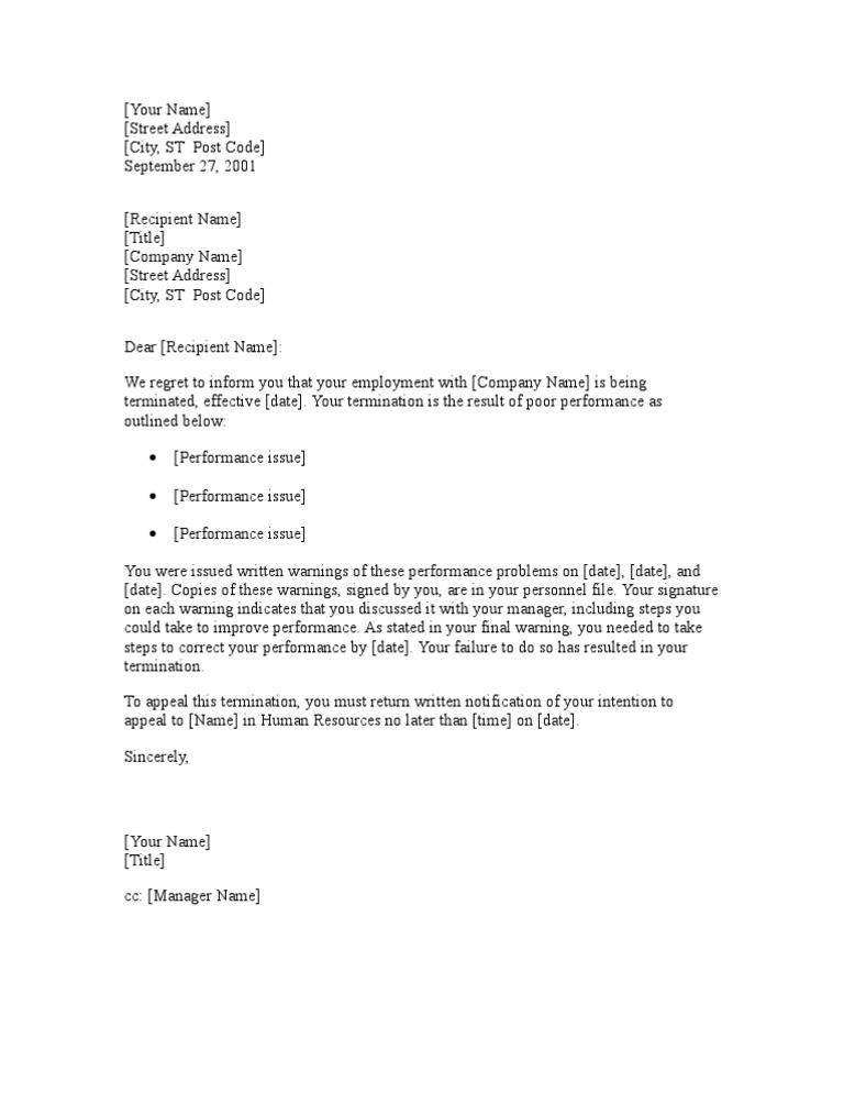 Notice of termination due to poor performance spiritdancerdesigns Gallery