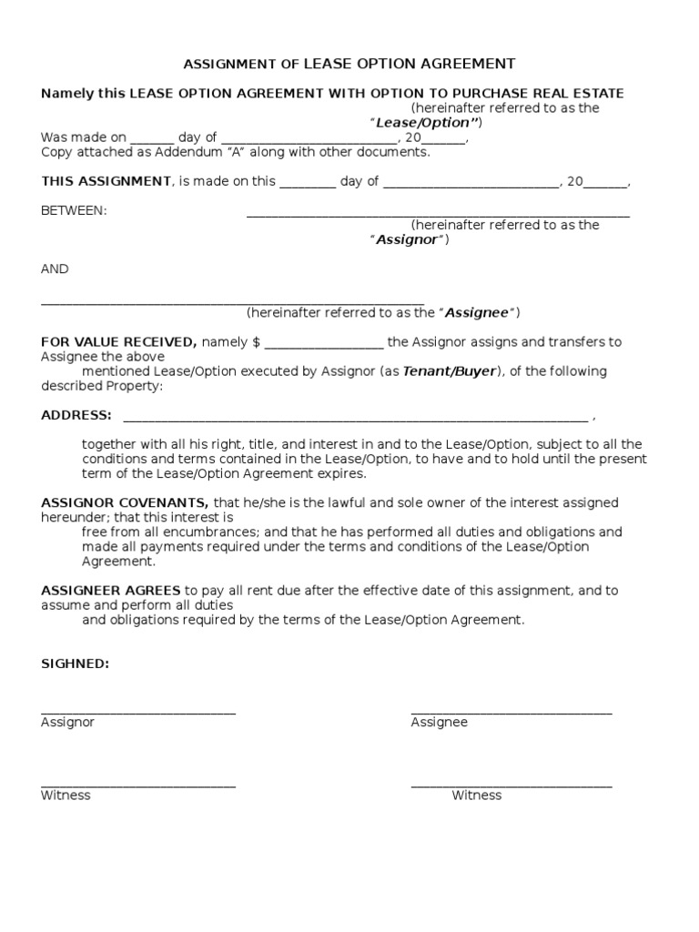 Assignment Of Lease Option Agreement