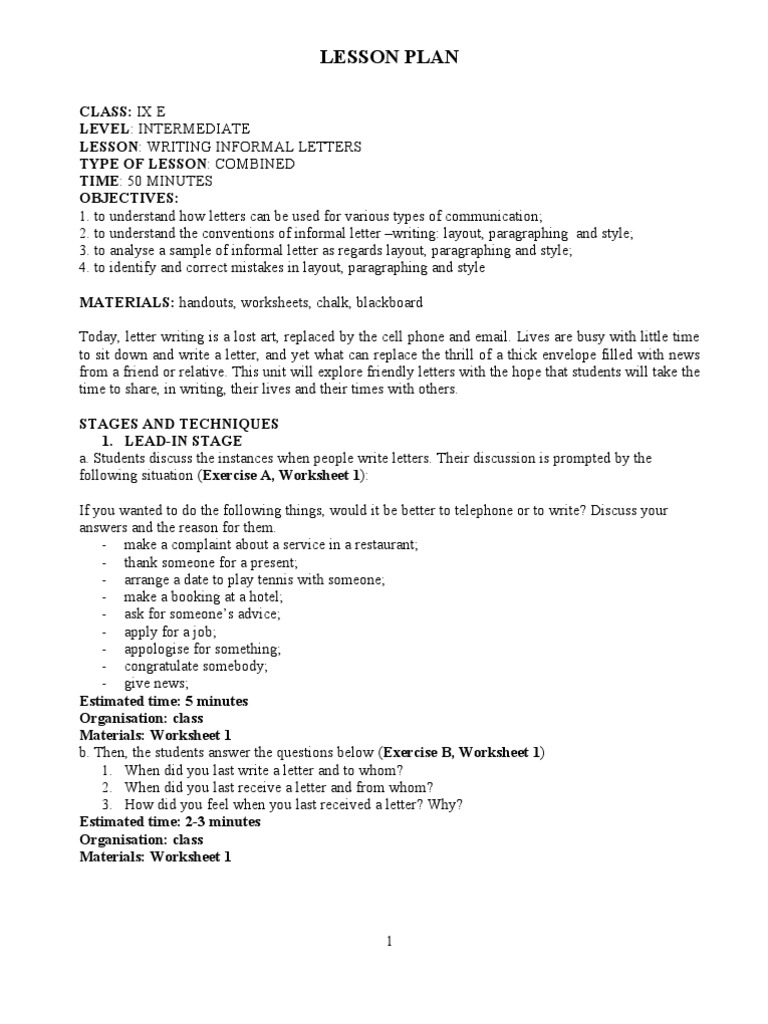 Writing informal letters paragraph lesson plan spiritdancerdesigns Image collections