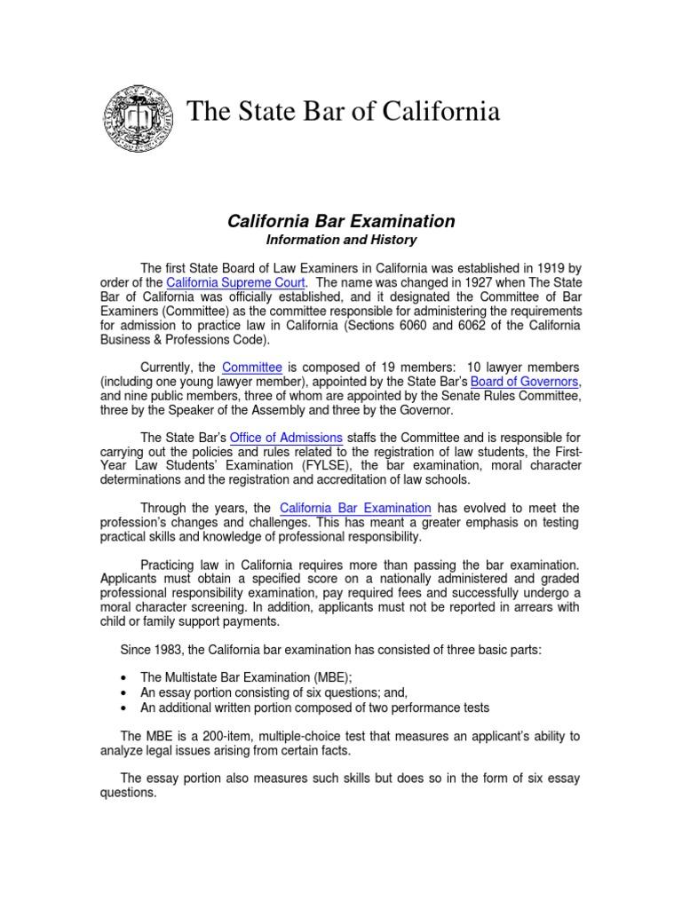 Bar Exam Info History | State Bar Of California | Test