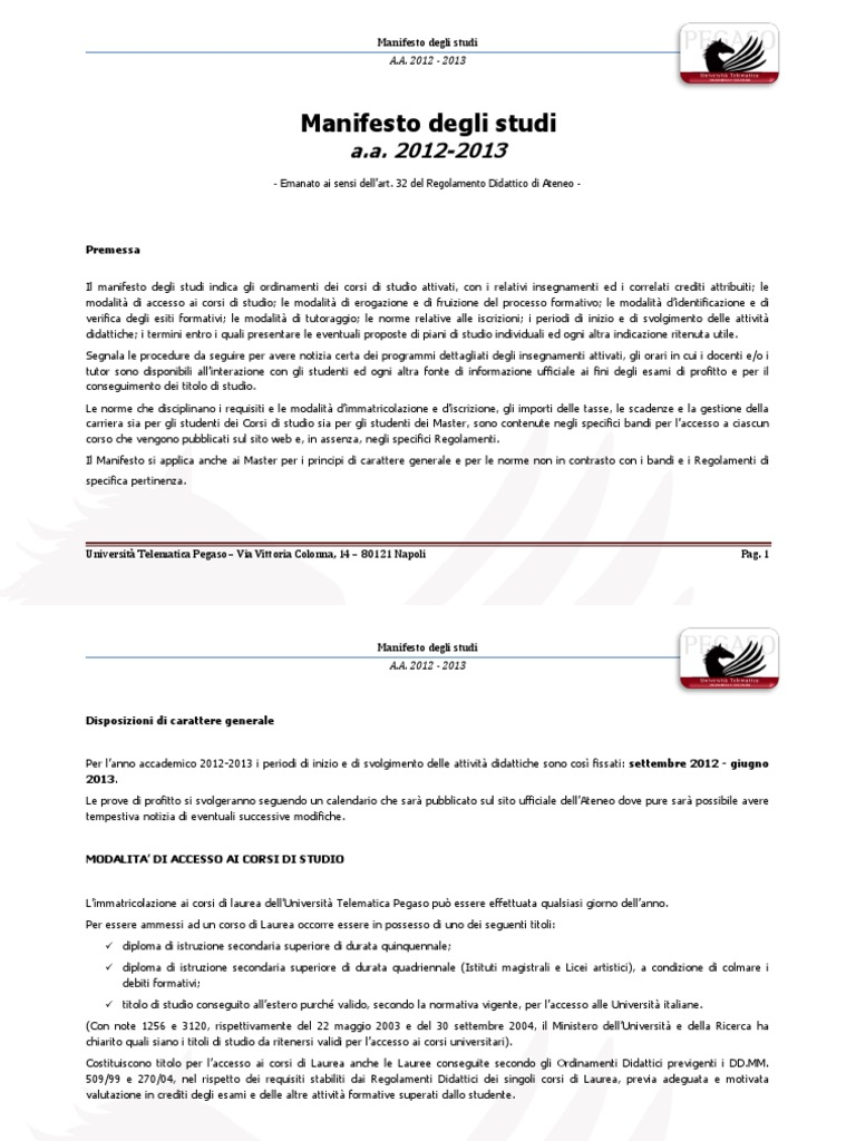 Calendario Esami Unipegaso.Manifesto Degli Studi Di Pegaso