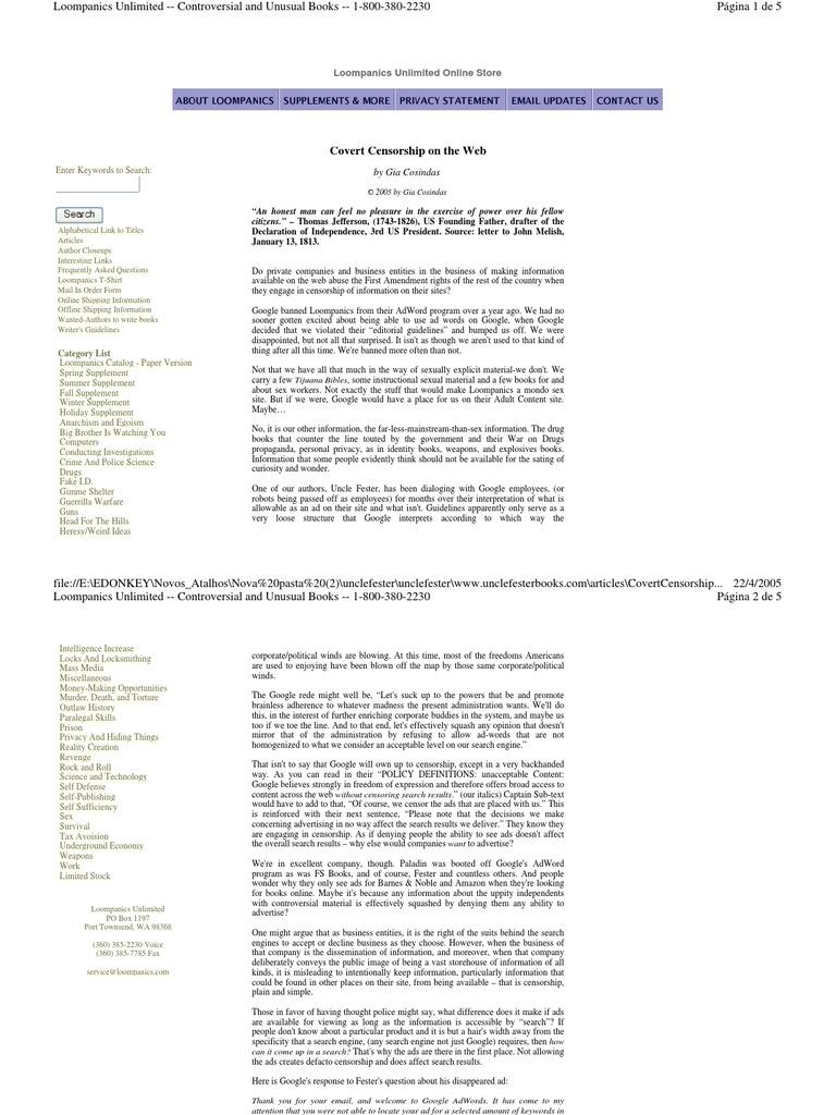 Loompanics Unlimited Main Catalog Download