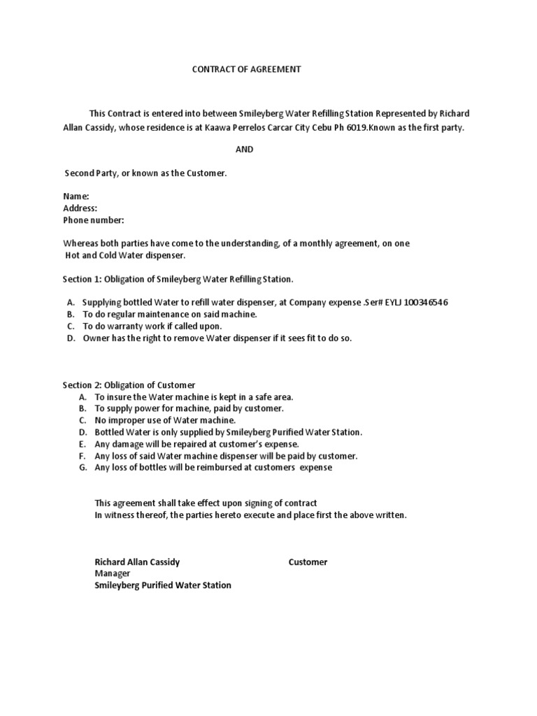 Contract Of Agreement Water Dispenser 1 Business Law Private Law