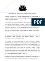 Statement by president of Athletics South Africa