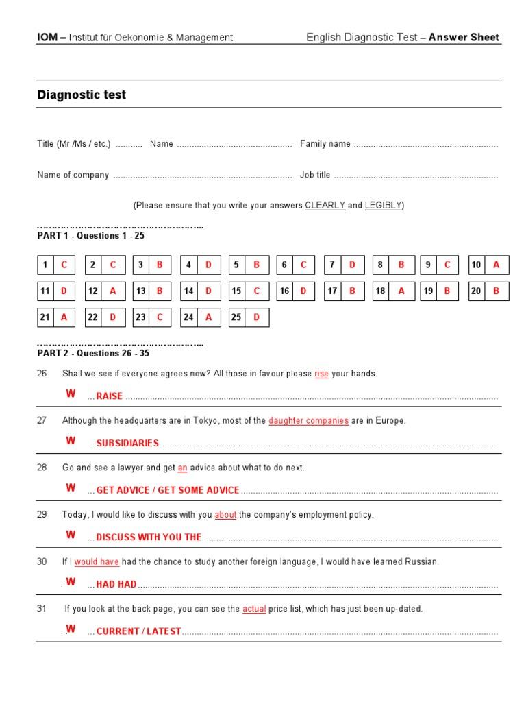 Diagnostic Test - Answer Key