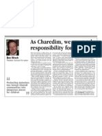 As Charedim, we must take responsibility for ourselves