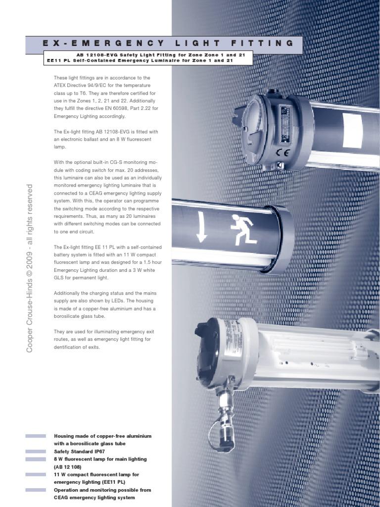 Emergency Light Fitting Data Sheet Fluorescent Lamp Compact 3 Switch