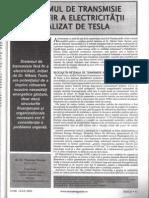 Sistemul de Transmisie a Electricitatii Fara Fir Realizata de Tesla