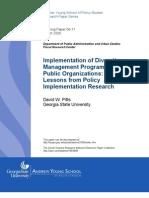 Implementing Diversity Management Programs in Public Organizations