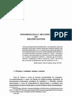 MMiranda Fenomenologia e Metafisica Em Delfim Santos 1992