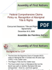 AFN Presentation on Comprehensive Claims Policy vs. Recognition of Aboriginal Title