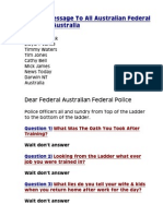 Special Message to All Australian Federal Police