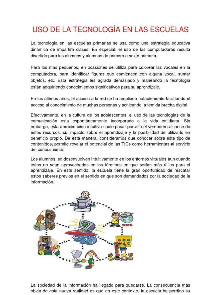 Uso De La Tecnología En Las Escuelas Tecnología De