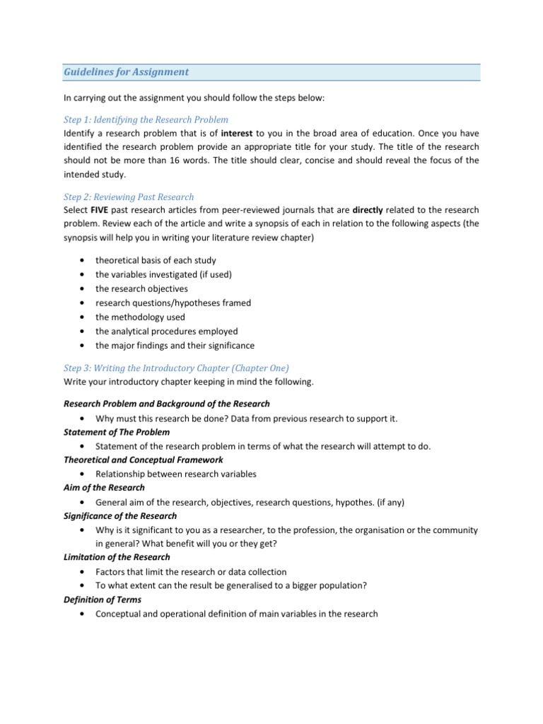 research paper assignment guidelines