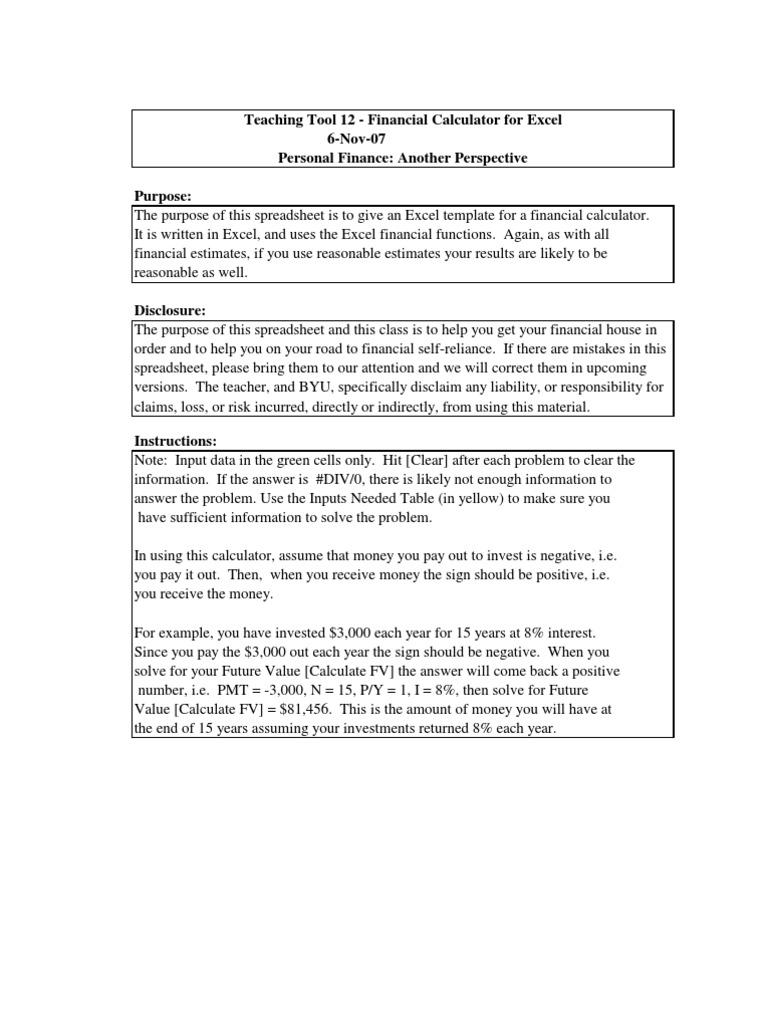 tt12 excel financial calculator microsoft excel spreadsheet