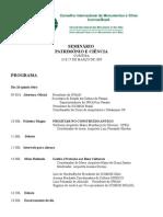 Programa Seminário Patrimôno e Ciência