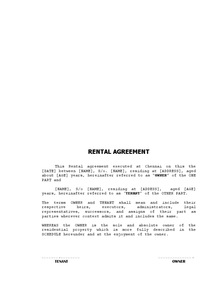 Format of rental agreement