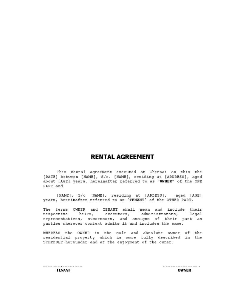 HOUSE RENTAL AGREEMENT FORMATdocx Lease – Rental Agreement