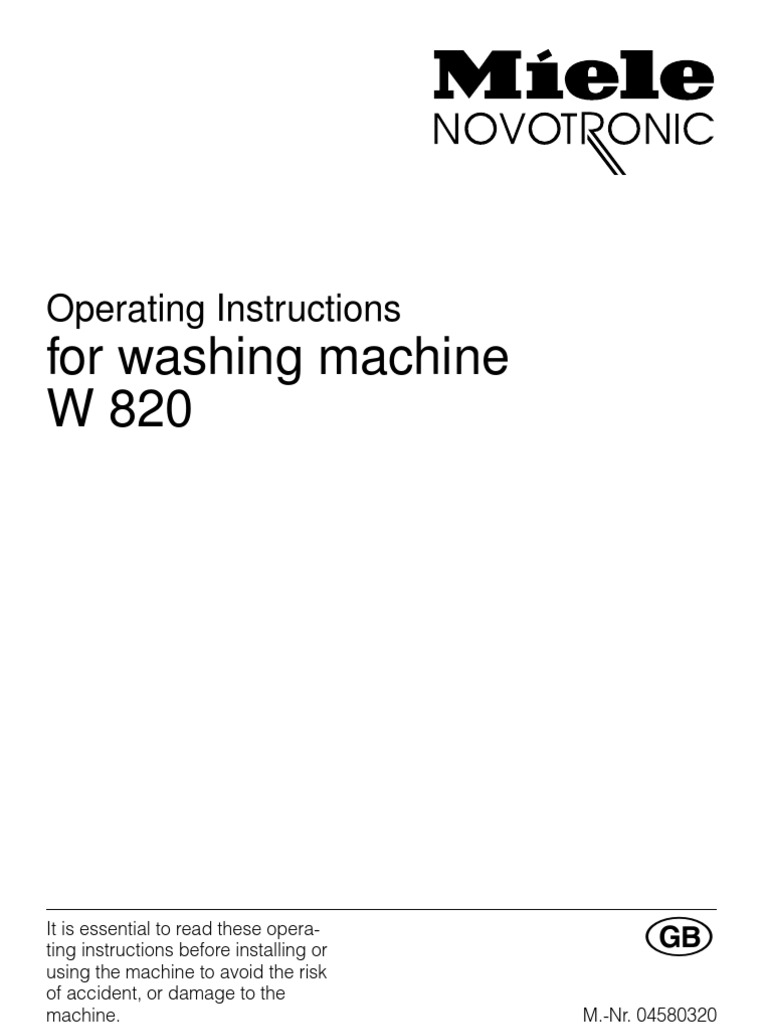 Operating Instructions Miele W820 Eng Washing Machine Laundry Schematic