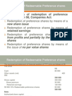 Redemption of Redeemable Preference Shares