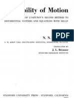Krasovskii, Stability of Motion Applications of Lyapunov Second Method to Differential Systems and Equations With Delay, 1963,