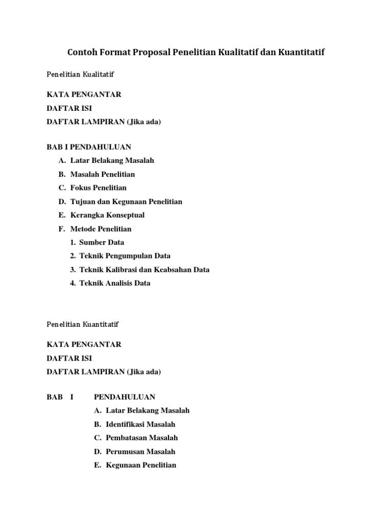 Contoh Daftar Isi Proposal Penelitian Kualitatif Materi Pelajaran 2
