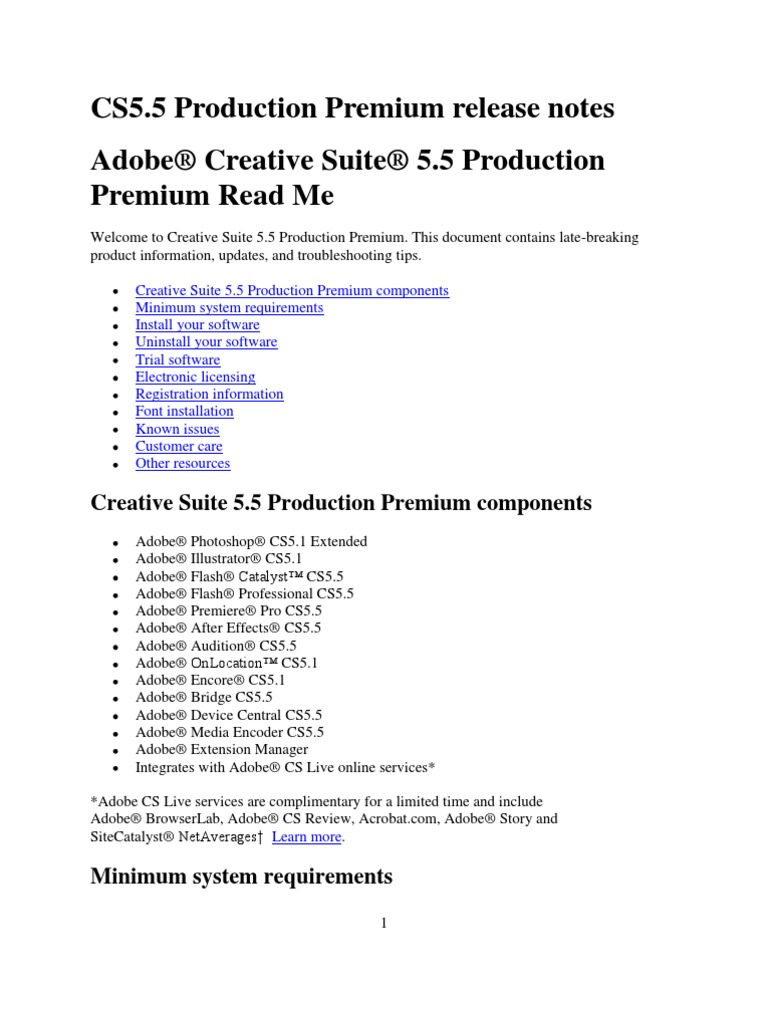 Creative Suite 5 5 Production Premium Read Me Adobe Creative Suite Adobe Systems