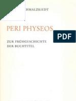 Peri Physeos Zur Fr Hgeschichte Der Buchtitel