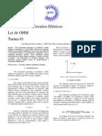 Prática 01- Lei de Ohm