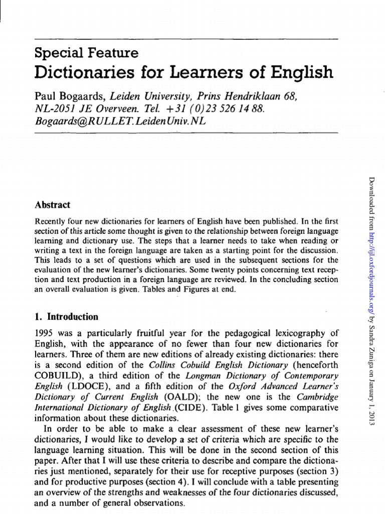 Dictionaries for learners of english idiom second language