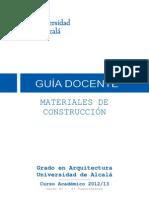 Gua Docente Materiales GARQ (Curso 2012-13)