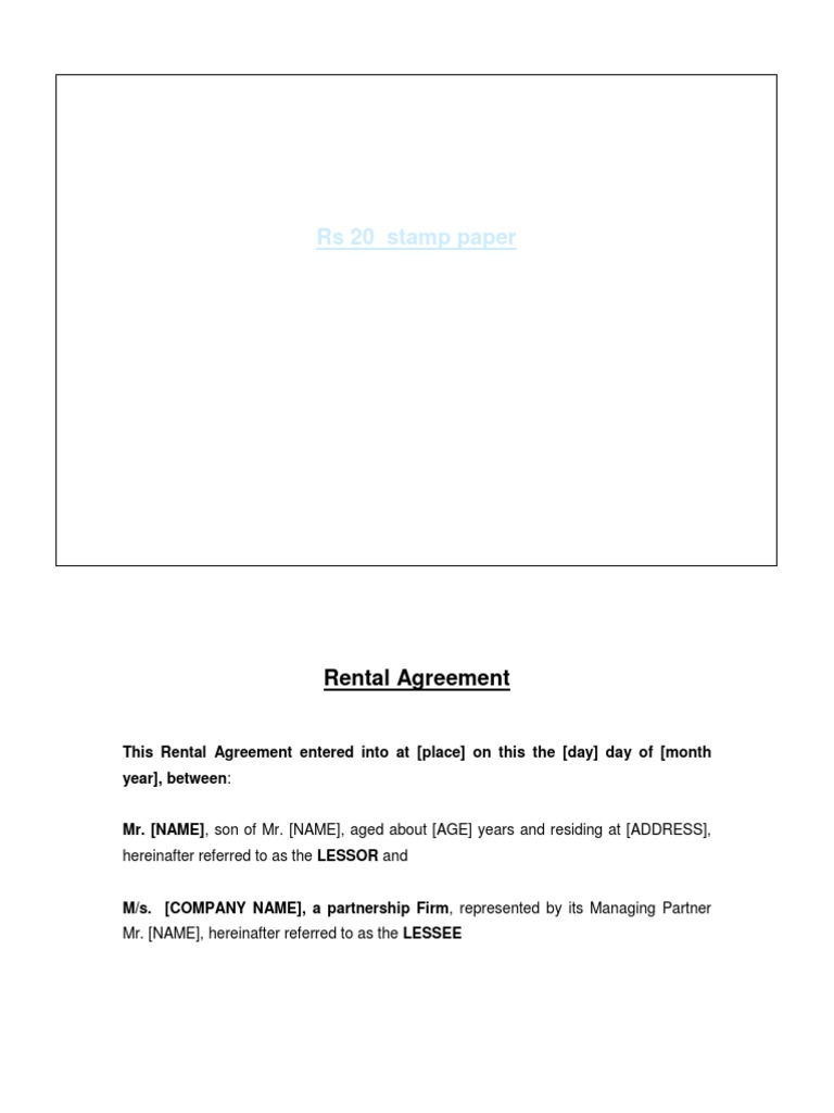 RENTAL AGREEMENT FORMAT for PARTNERSHIP FIRMdocx – Format for Agreement