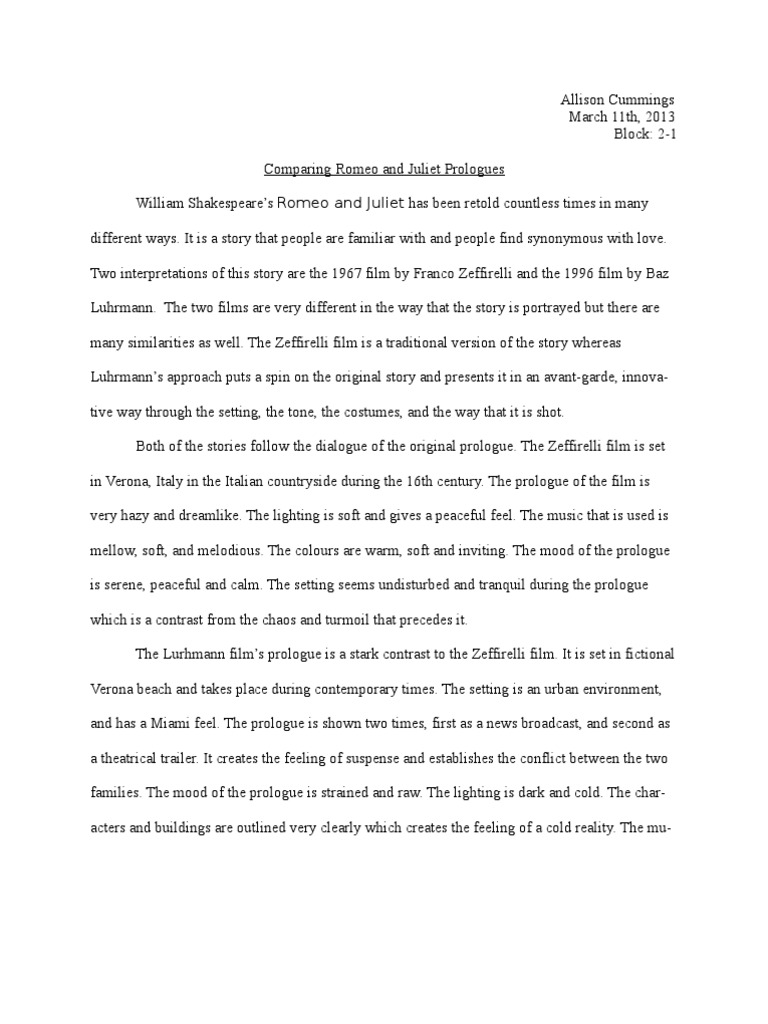 Romeo and juliet compare and contrast essay