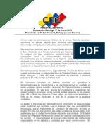 Declaración Presidenta del CNE