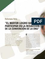 Feliciano Sola, EL MAYOR LOGRO HA SIDO PARTICIPAR EN LA REDACCIÓN DE LA CONVENCIÓN DE LA ONU