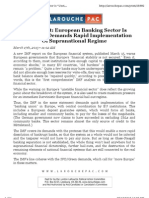 IMF Report - European Banking Sector is ''Unstable'', Demands Rapid Implementation of Supranational Regime