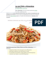 Fideos Chinos Con Pollo y Almendras