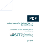 ASiT  Draft Curriculum for the Early Years of Surgical Training Response