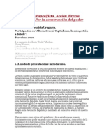 Anarquismo Especifista, Acción directa anarquista Por la construcción del poder popular.
