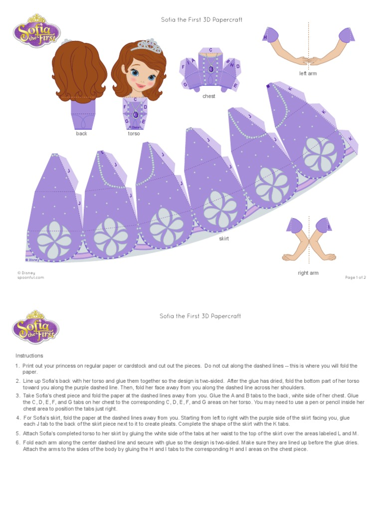 Sofia The First 3d Papercraft Craft Printable 1012