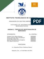 UNIDAD 5. TÓPICOS DE INVESTIGACIÓN DE MERCADOS