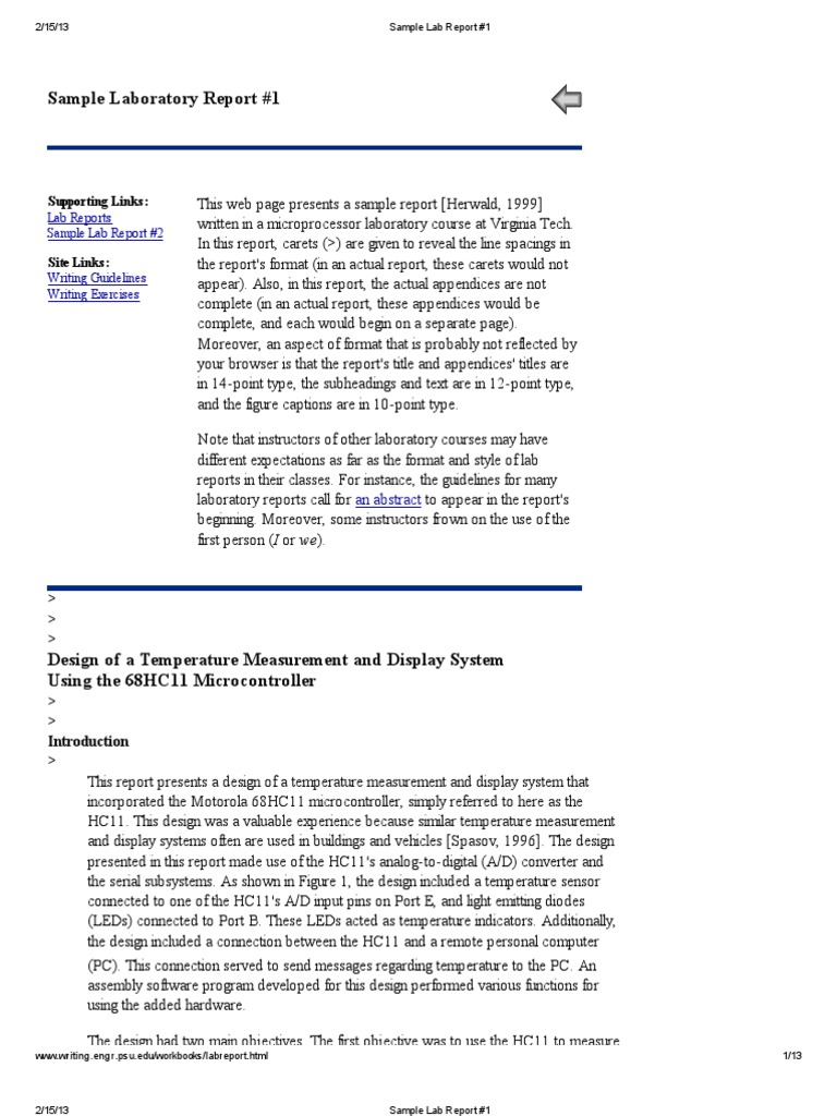 sample lab report 1 analog to digital converter subroutine rh es scribd com