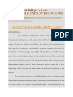 Abstract and Full Paper on Renewable Energy Resources
