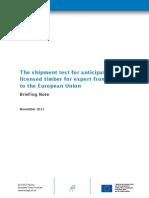 Briefing Note Shipment Indonesia Eu