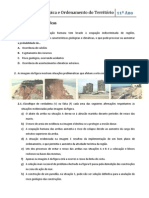 Ficha de Trabalho - Ocupação Antrópica e Ordenamento do Território